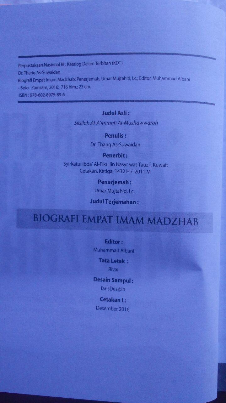 Buku Biografi Empat Imam Mazhab Mendulang Hikmah Perjalanan 160.000 20% 128.000 Zam Zam Dr. Thariq As-Suwaidan isi 4