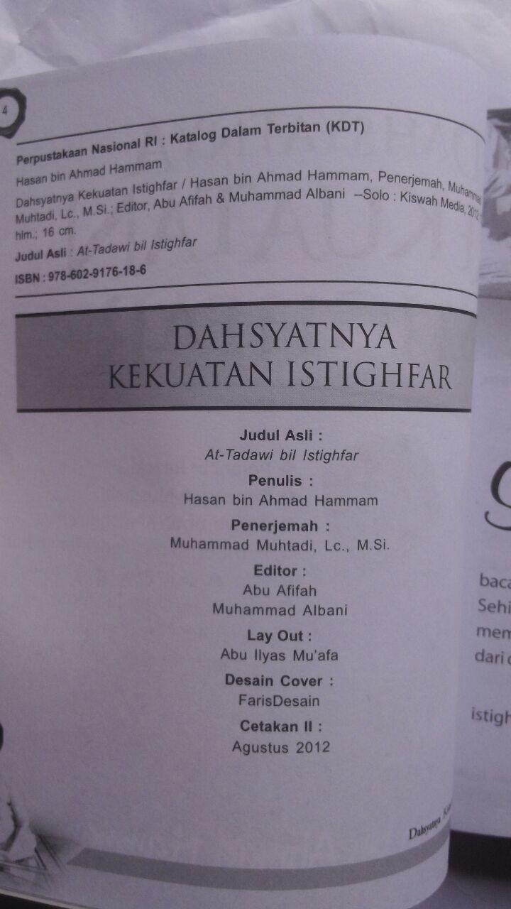 Buku Dahsyatnya Kekuatan Istighfar 22.000 15% 18.700 Kiswah Media Hasan bin Ahmad Hammam isi 3