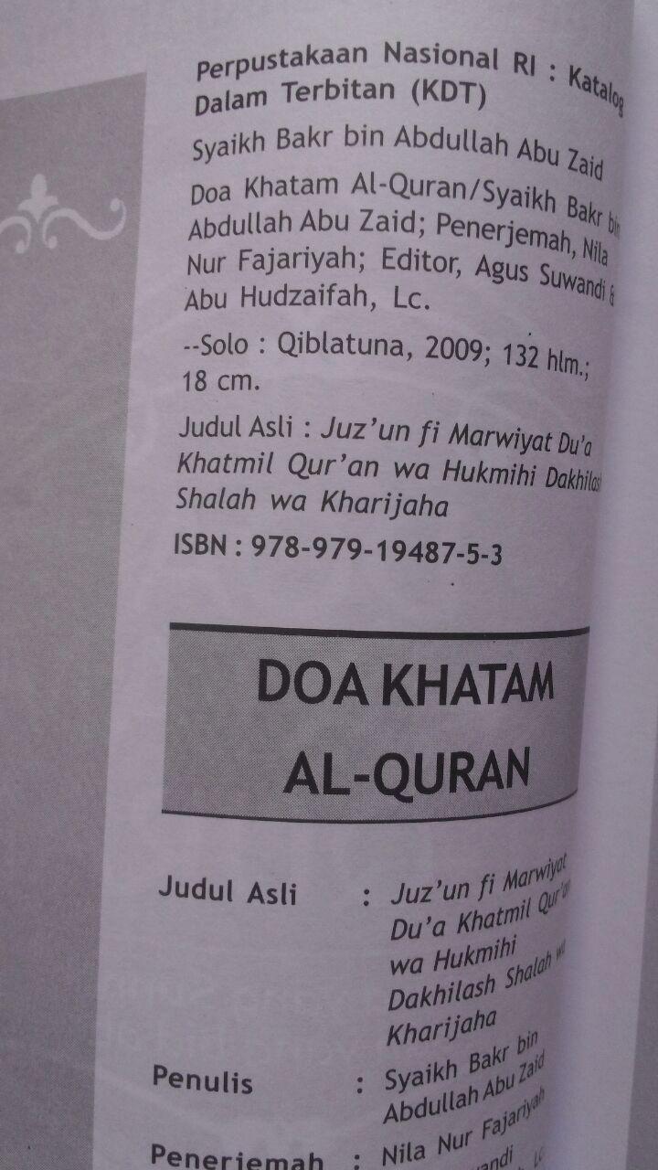 Buku Doa Khatam Al-Quran Antara Sunnah Dan Bidah 18.500 15% 15.725 Qiblatuna Syaikh Bakr Bin Abdullah Abu Zaid isi 3