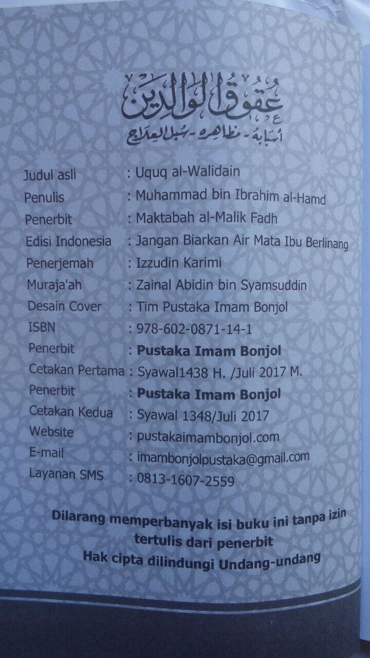 Buku Jangan Biarkan Air Mata Ibu Berlinang 12.000 15% 10.200 Pustaka Imam Bonjol cove