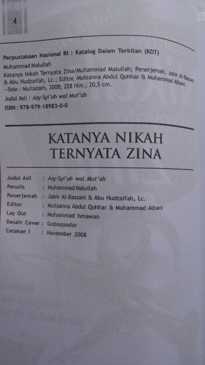 Buku Katanya Nikah Ternyata Zina 34.000 15% 28.900 Multazam Muhammad Malullah isi 3