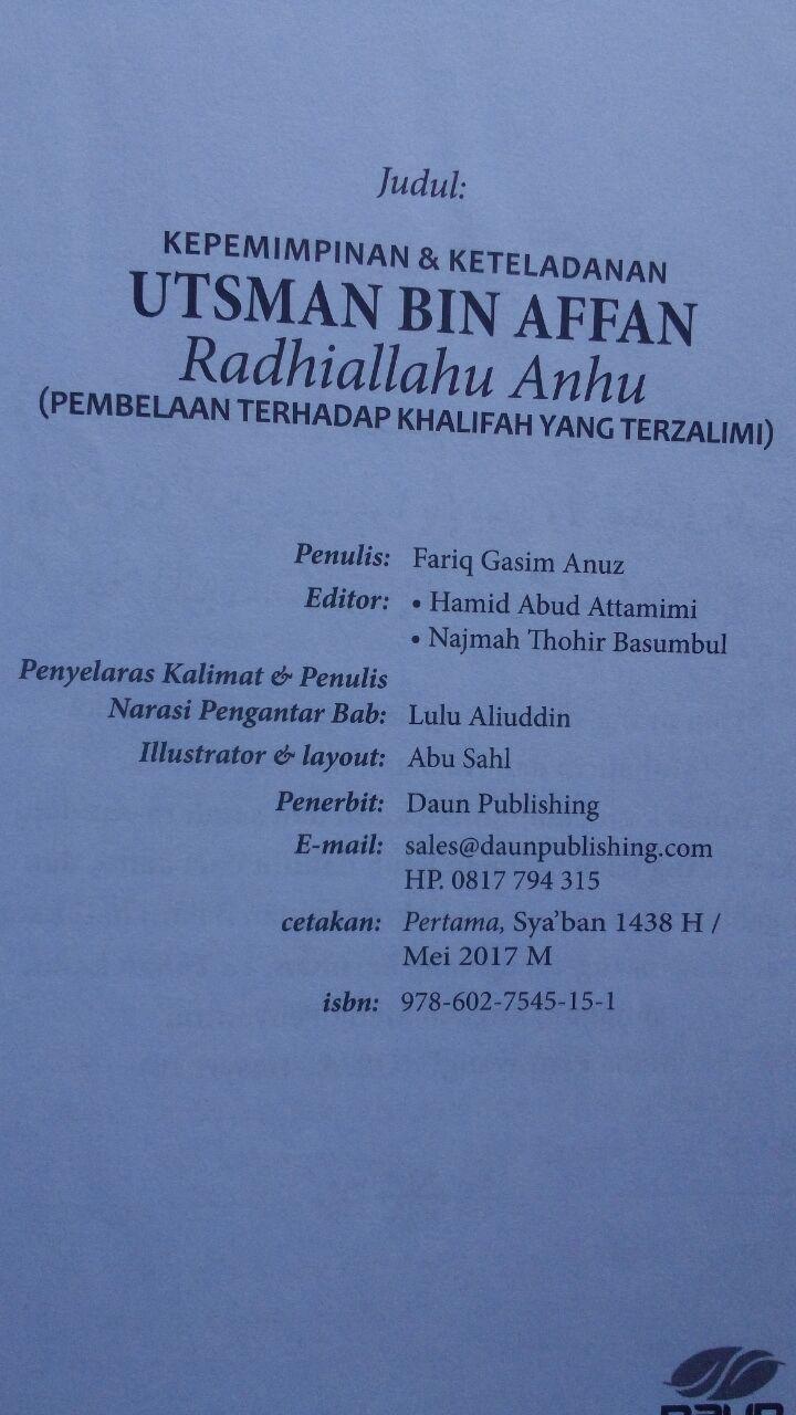Buku Kepemimpinan Dan Keteladanan Utsman Bin Affan 100.000 20% 80.000 Daun Publishing Fariq Gasim Anuz isi 4