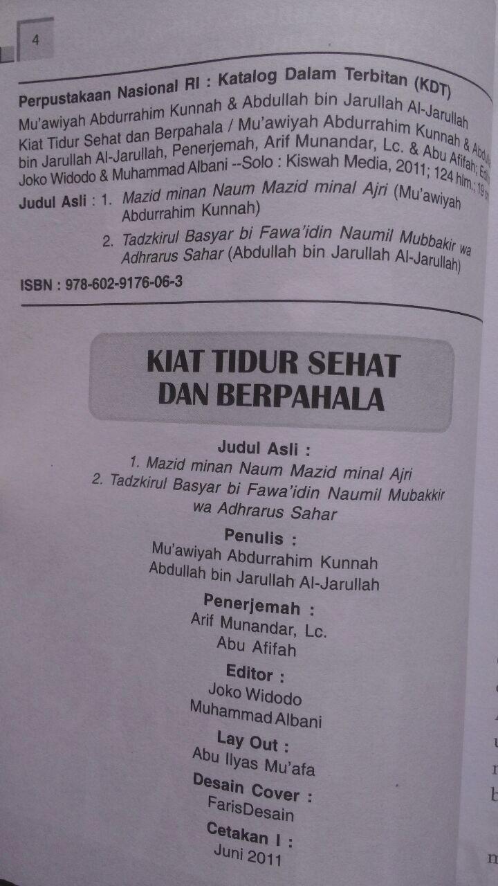 Buku Kiat Tidur Sehat Dan Berpahala 23.000 15% 19.550 Kiswah Media Muawiyah Abdurrahim Kunnah Abdullah bin Jarullah Al-Jarullah isi 4