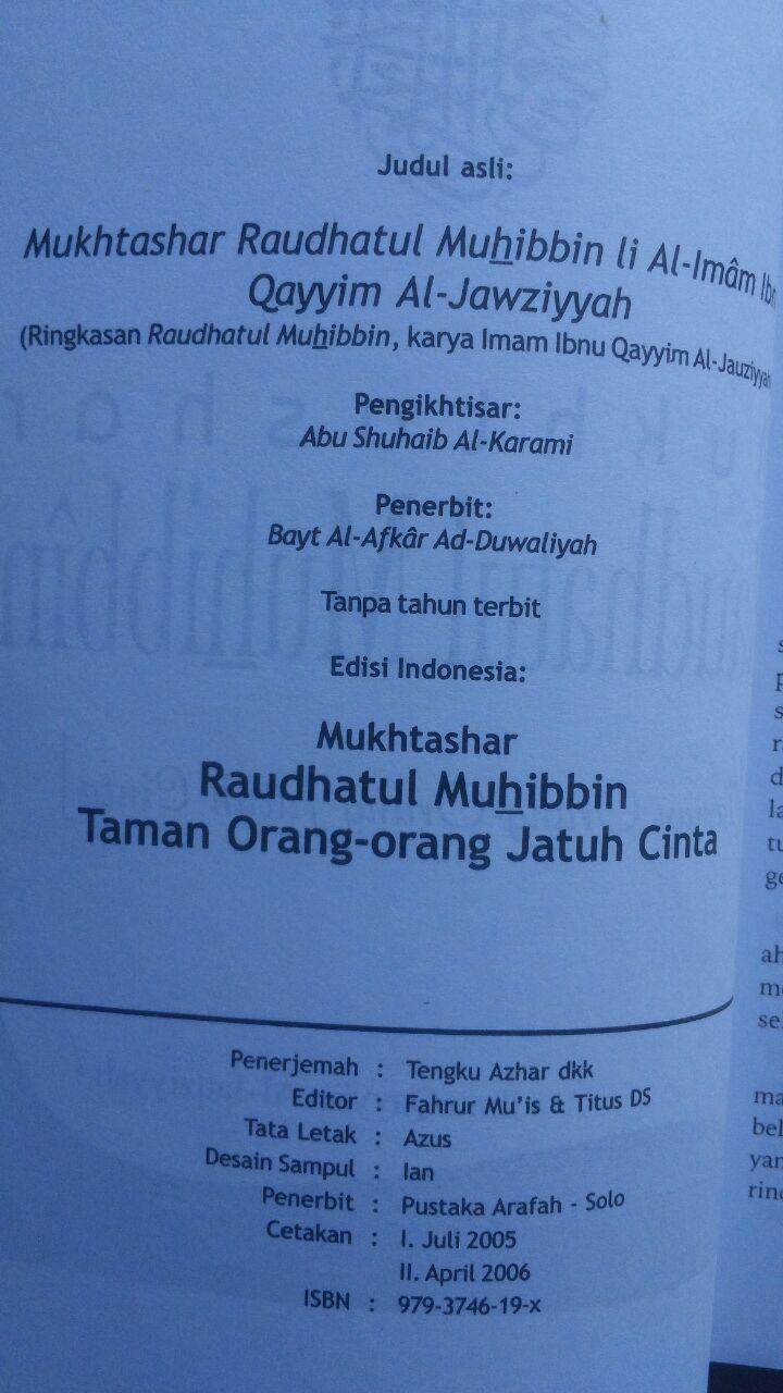 Buku Mukhtashar Raudhatul Muhibbin Taman Orang Jatuh Cinta 29.000 15% 24.650 Pustaka Arafah Ibnu Qayyim Al-Jauziyyah isi 4
