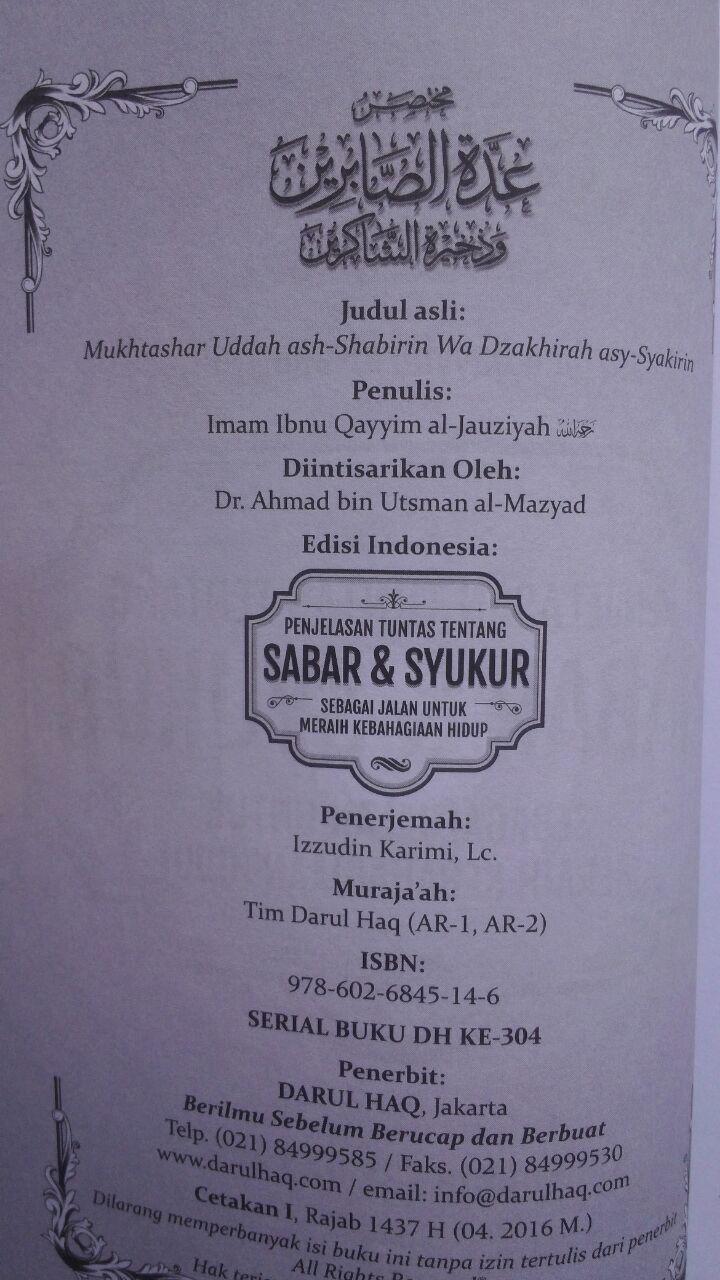Buku Penjelasan Tuntas Tentang Sabar Dan Syukur 25.000 15% 21.250 Darul Haq Ibnu Qayyim Al-Jauziyyah cover 2