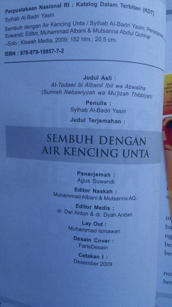 Buku Sembuh Dengan Air Kencing Unta 26.000 15% 22.100 Kiswah Media Syihab Al-Badri Yasin isi 2