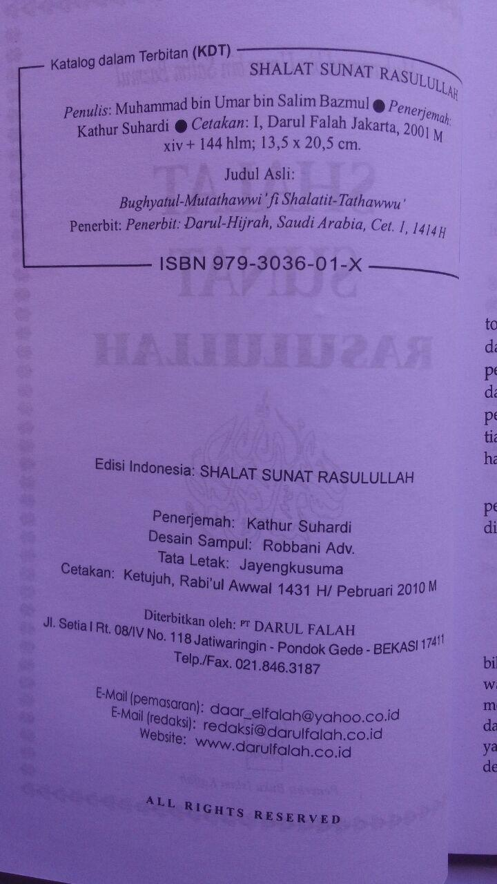 Buku Shalat Sunat Rasulullah 21.000 15% 17.850 Darul Falah isi 3