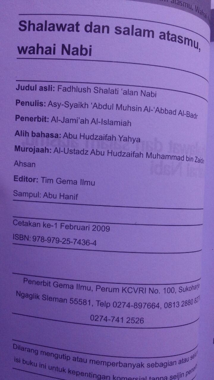 Buku Shalawat Dan Salam Atasmu Wahai Nabi 18.500 15% 15.725 Gema Ilmu Syaikh Abdul Muhsin bin Hamd Al-Abbad Al-Badr isi 3