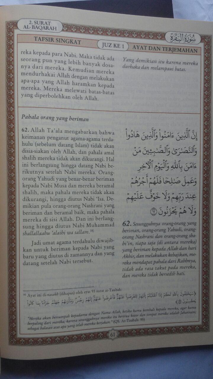 Buku Tafsir Singkat Al-Quran Dan Terjemah Kecil Set 30 Jilid 450.000 25% 337.500 Pustaka Ibnu Umar DR. As'ad Mahmud Humad isi