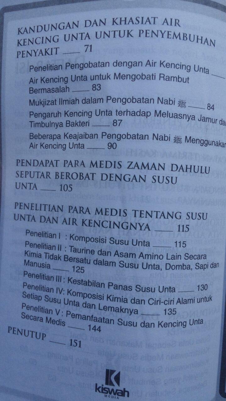 Buku Terapi Susu Unta 27.000 15% 22.950 Kiswah Media Syihab Al-Badri Yasin isi 2