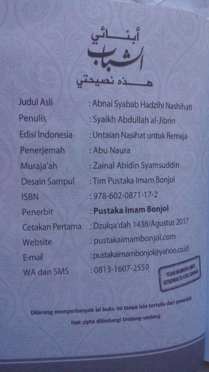 Buku Untaian Nasihat Untuk Remaja 5.000 15% 4.250 Pustaka Imam Bonjol isi