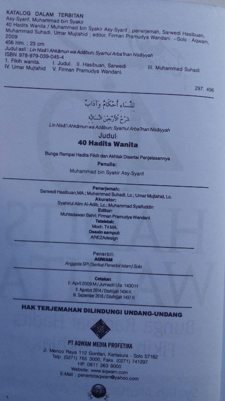 Buku 40 Hadits Wanita Bunga Rampai Hadits Fikih Dan Akhlak 89.000 20% 71.200 Aqwam Syaikh Muhammad Asy-Syarif isi