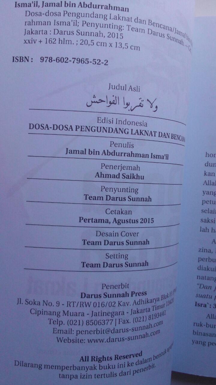 Buku Dosa-Dosa Pengundang Laknat Dan Bencana 25.000 15% 21.250 Darus Sunnah Jamal Bin Abdurrahman Ismail isi