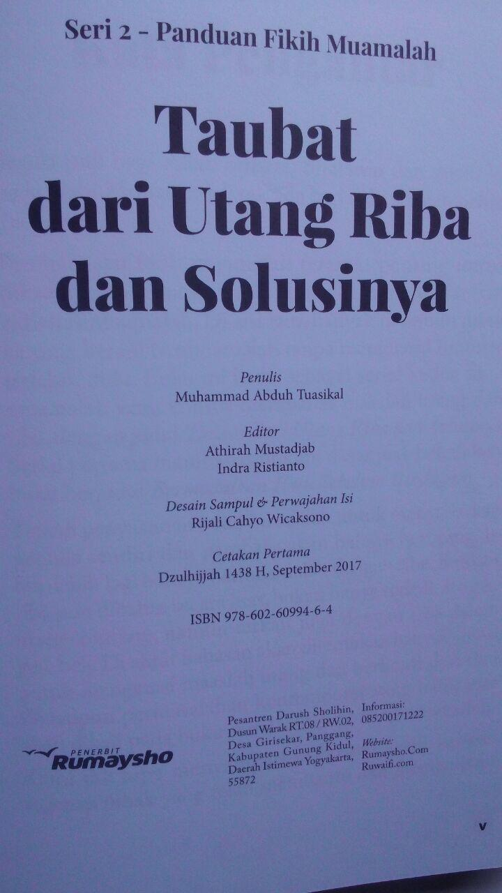 Buku Fikih Muamalah Taubat Dari Utang Riba Dan Solusinya 125.000 20% 100.000 Rumaysho isi