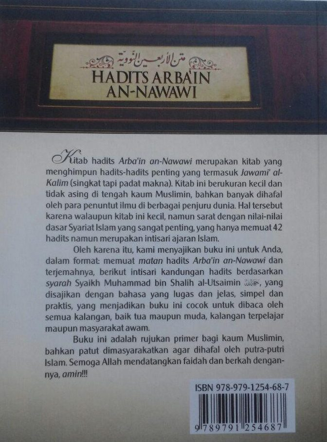 Buku Hadits Arba'in An-Nawawi Terjemah Intisari Kandungan ...