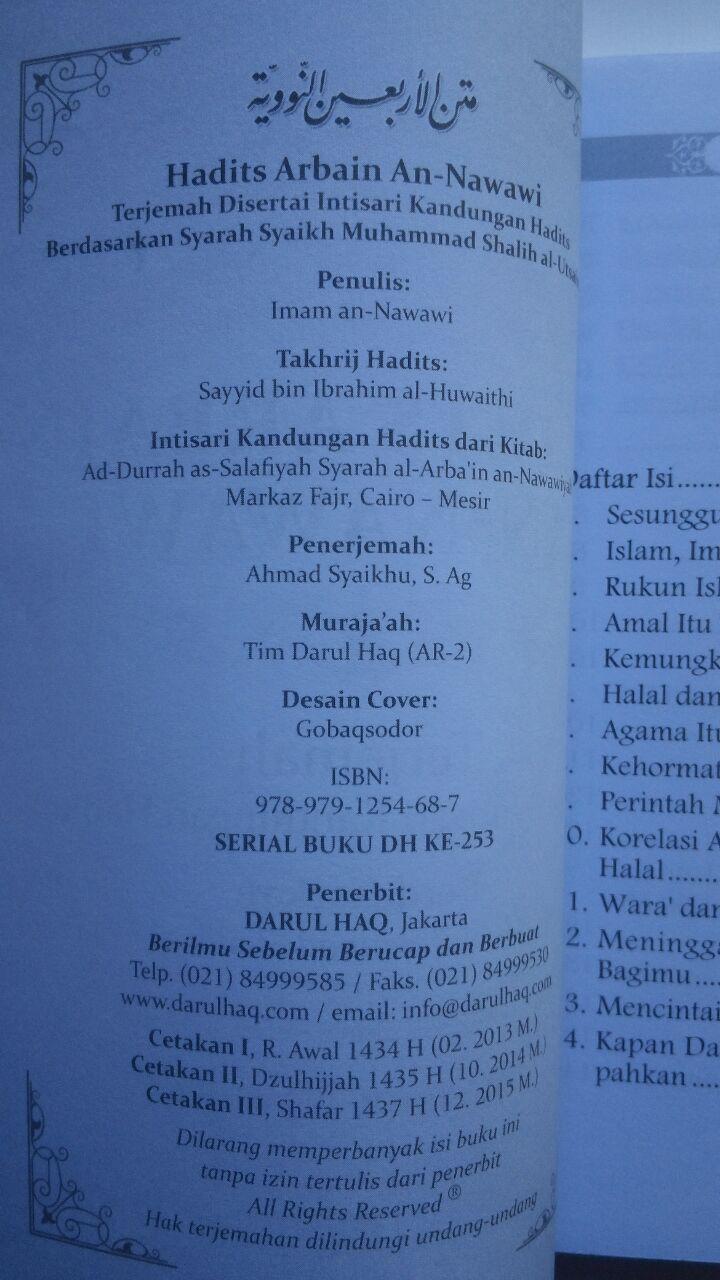 Buku Hadits Arba'in An-Nawawi Terjemah Intisari Kandungan Hadits 17.000 15% 14.450 Darul Haq Imam An-Nawawi isi