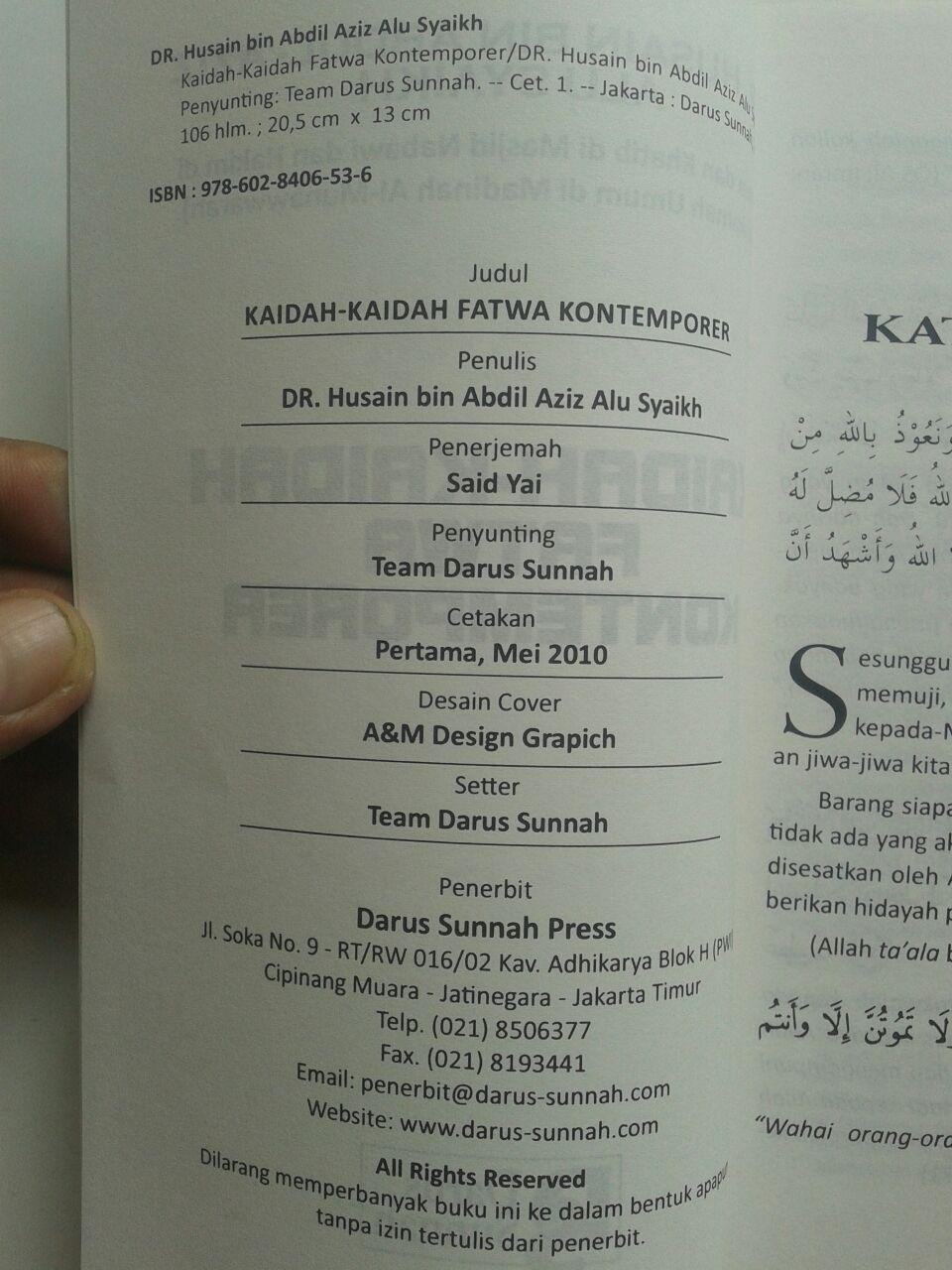Buku Kaidah-Kaidah Fatwa Kontemporer 19.000 15% 16.150 Darus Sunnah DR. Husain Bin Abdul Aziz Alu Syaikh isi