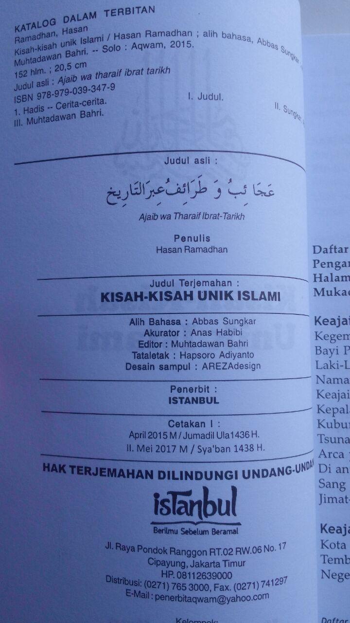 Buku Kisah-Kisah Unik Islami 39.000 15% 33.150 Istanbul Hasan Ramadhan isi