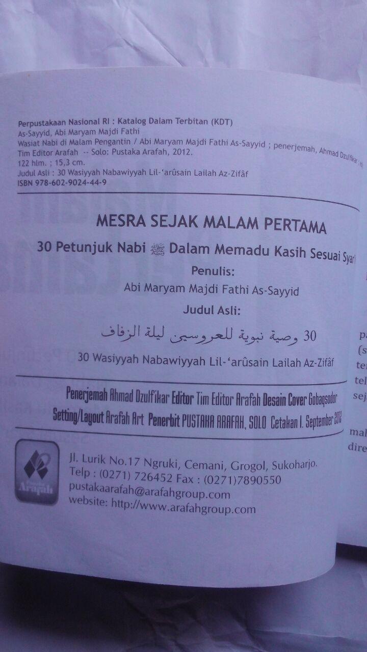 Buku Mesra Sejak Malam Pertama 30 Petunjuk Nabi 20.000 15% 17.000 Pustaka Arafah Majdi Fathi As-Sayyid isi 2