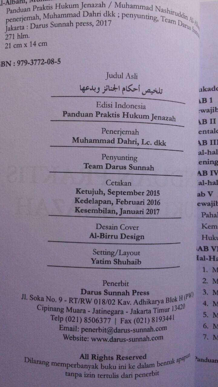 Buku Panduan Praktis Hukum Jenazah 32.000 15% 27.200 Darus Sunnah Muhammad Nashiruddin Al-Albani isi