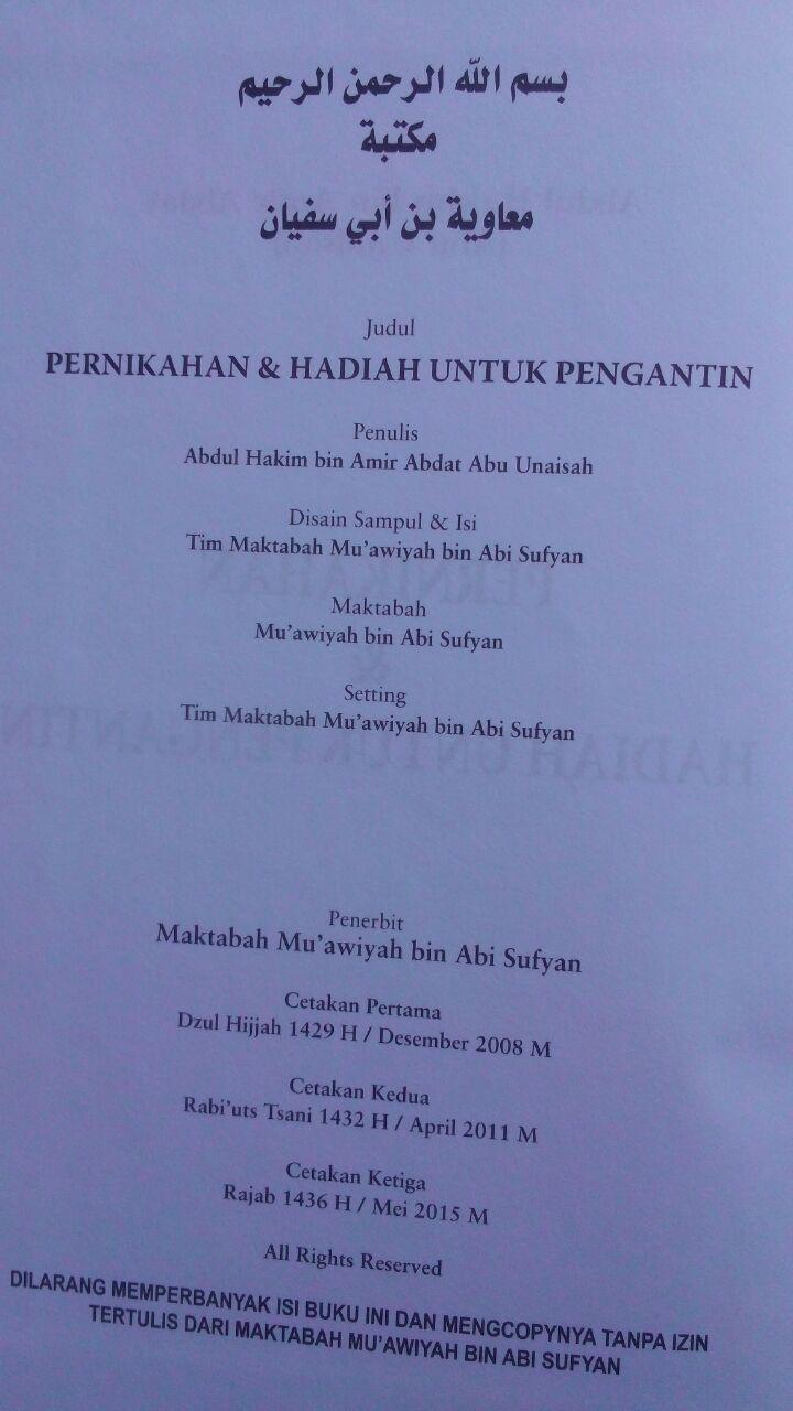 Buku Pernikahan Dan Hadiah Untuk Pengantin 90.000 20% 72.000 Maktabah Muawiyah Bin Abi Sufyan Abdul Hakim bin Amir Abdat isi 3