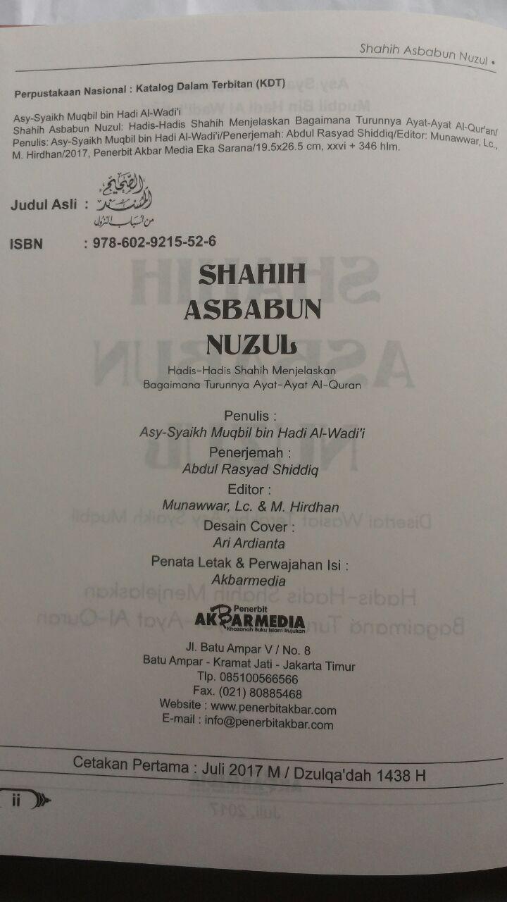 Buku Shahih Asbabun Nuzul Hadits Shahih Turunnya Ayat Al-Qur'an 115.000 20% 92.000 Akbar Media Syaikh Muqbil bin Hadi Al-Wadi'i isi 3