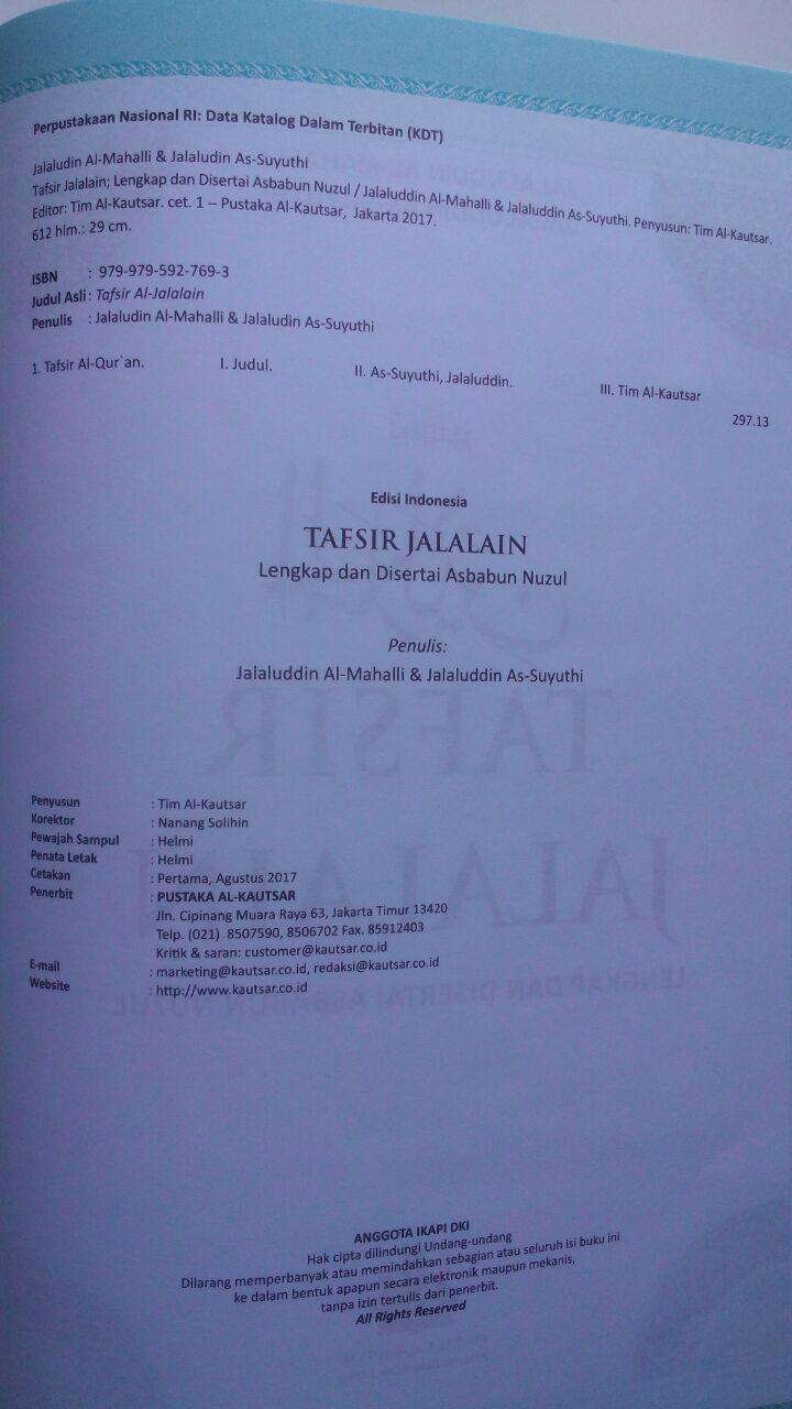 Buku Tafsir Jalalain Lengkap Dan Disertai Asbabun Nuzul 240.000 20% 192.000 Pustaka Al-Kautsar Jalaluddin Al-Mahalli Dan Jalaluddin As-Suyuthi isi 4