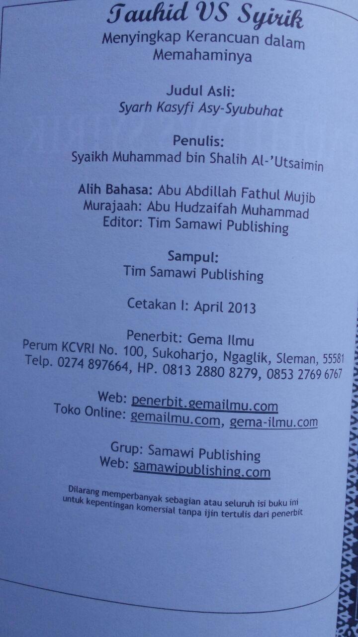 Buku Tauhid Vs Syirik Menyingkap Kerancuan Dalam Memahaminya 60.000 20% 48.000 Gema Ilmu Muhammad bin Shalih Al-Utsaimin isi 2