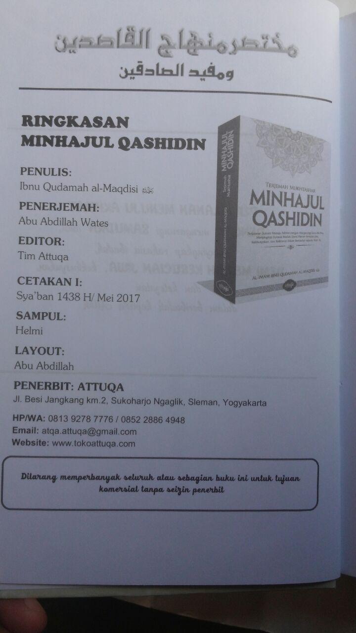 Buku Terjemah Mukhtashar Minhajul Qashidin 145.000 15% 123.250 Attuqa Ibnu Qudamah Al-Maqdisi isi