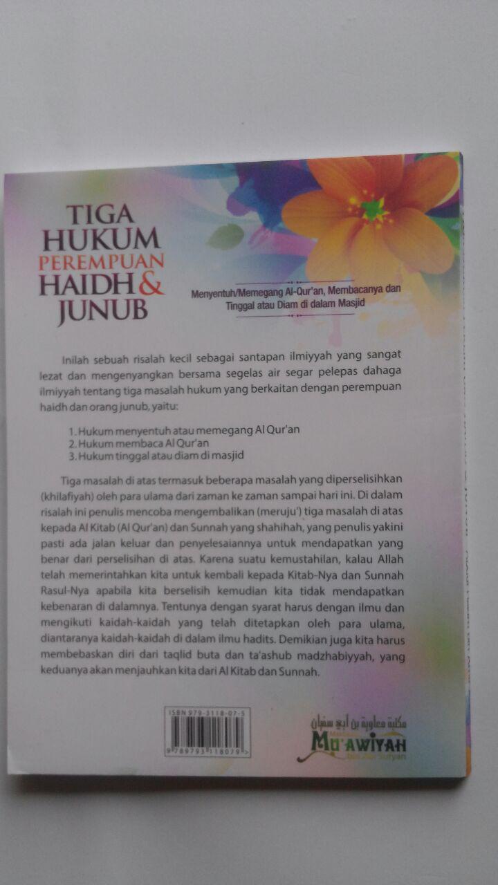 Buku Tiga Hukum Perempuan Haidh Dan Junub 17.500 15% 14.875 Maktabah Muawiyah Bin Abi Sufyan Abdul Hakim bin Amir Abdat cover