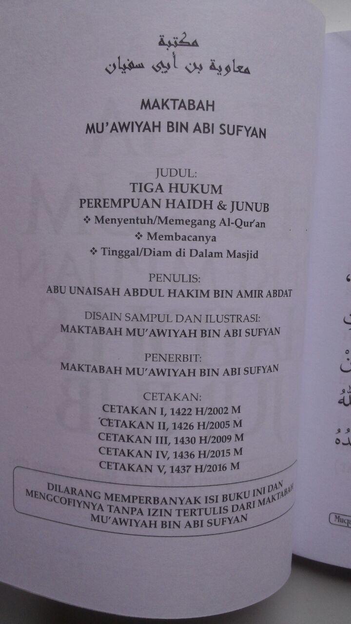 Buku Tiga Hukum Perempuan Haidh Dan Junub 17.500 15% 14.875 Maktabah Muawiyah Bin Abi Sufyan Abdul Hakim bin Amir Abdat isi