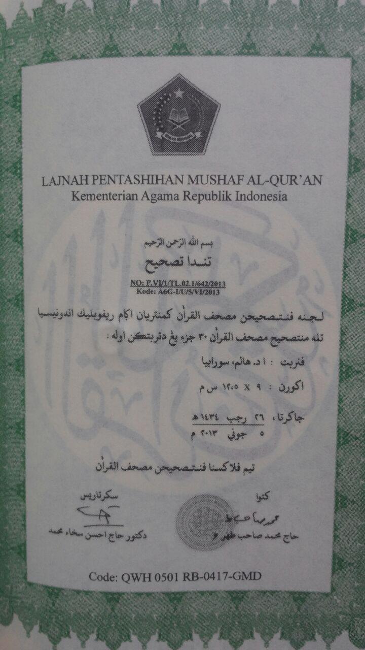 Al-Qur'an Mushaf Halim Al-Wafa Per 5 Juz 45.000 15% 38.250 Halim Publishing isi