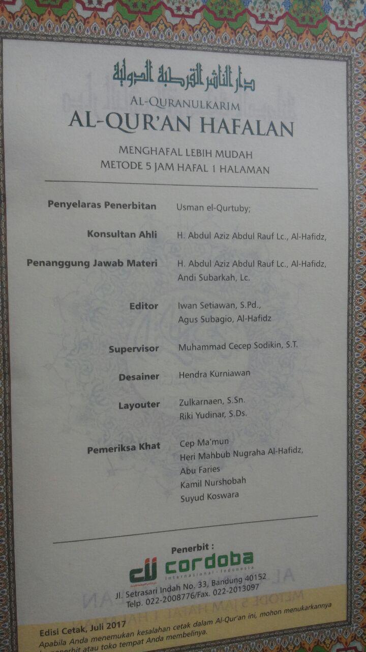 Al-Qur'an Hafalan Mudah Terjemah Tajwid Warna Al-Hufaz 79.500 15% 67.575 Cordoba isi 2