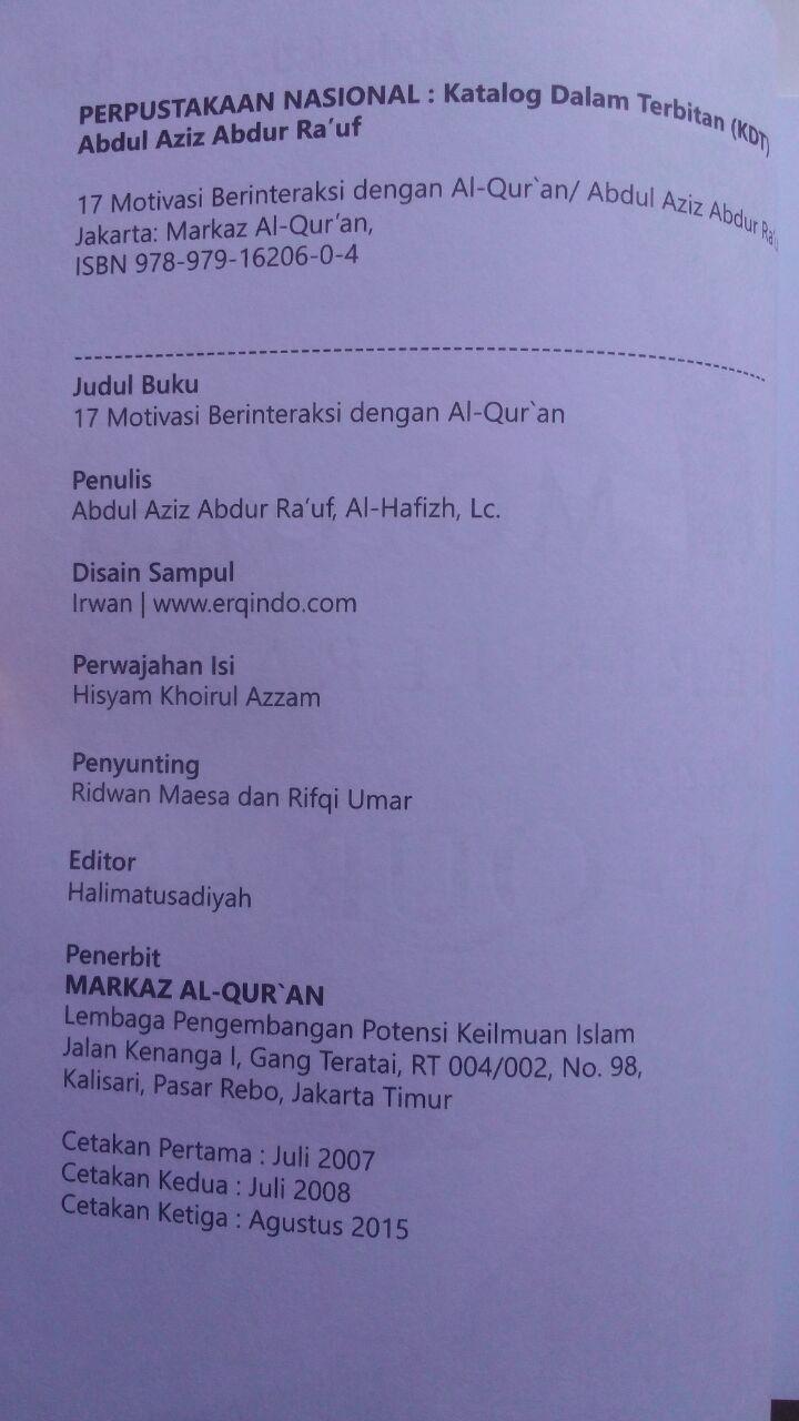 Buku 17 Motivasi Berinteraksi Dengan Al-Qur'an 45.000 15% 38.250 Markaz Al-Quran Abdul Aziz Abdur Rauf isi