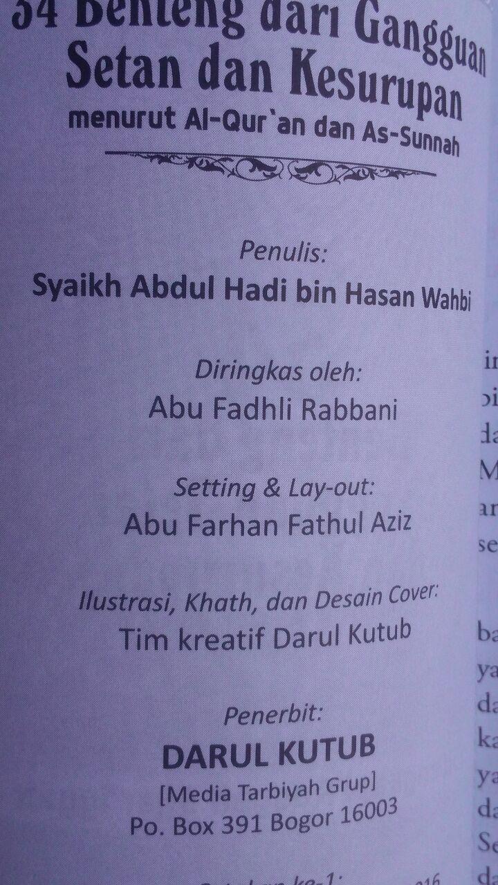 Buku 34 Benteng Dari Gangguan Setan Dan Kesurupan 16.000 15% 13.600 Darulkutub Abdul Hadi bin Hasan Wahbi isi 2