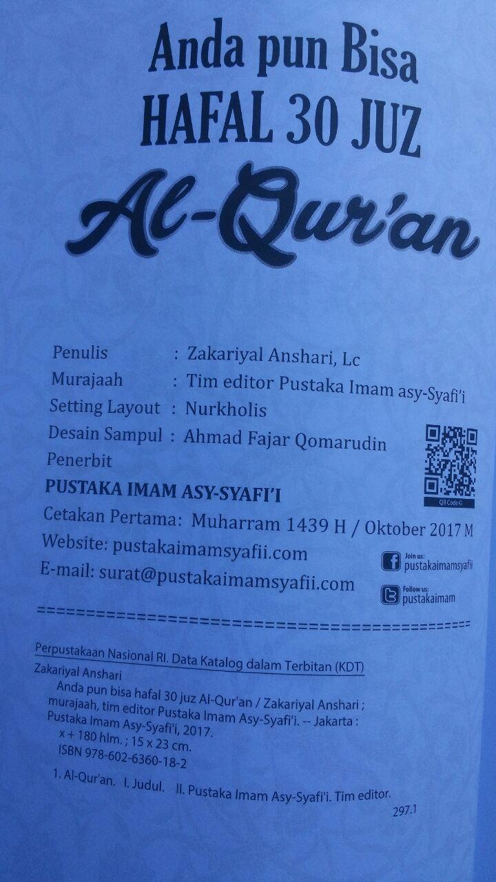 Buku Anda Pun Bisa Hafal 30 Juz Al-Qur'an 30.000 15% 25.500 Pustaka Imam Asy-Syafi'i Zakariyal Anshari isi