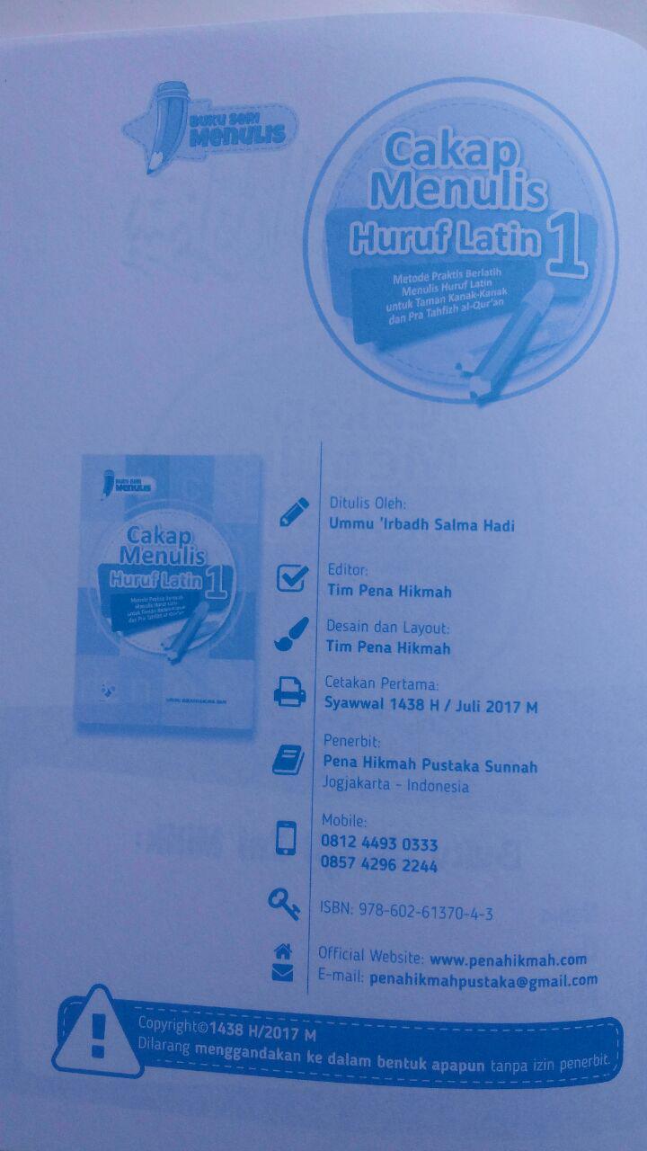 Buku Cakap Menulis Huruf Latin 1 Set 6 Jilid 57.000 10% 51.300 Pena Hikmah Ummu Irbadh Salma Hadi isi 3