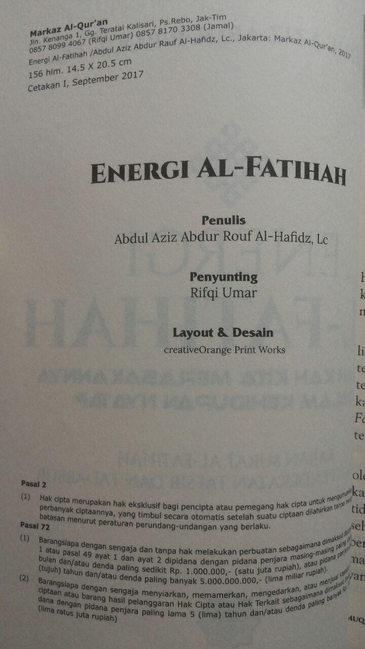 Buku Energi Al-Fatihah Sudahkah Kita Merasakannya 45.000 15% 38.250 Markaz Al-Quran Abdul Aziz Abdur Rauf isi