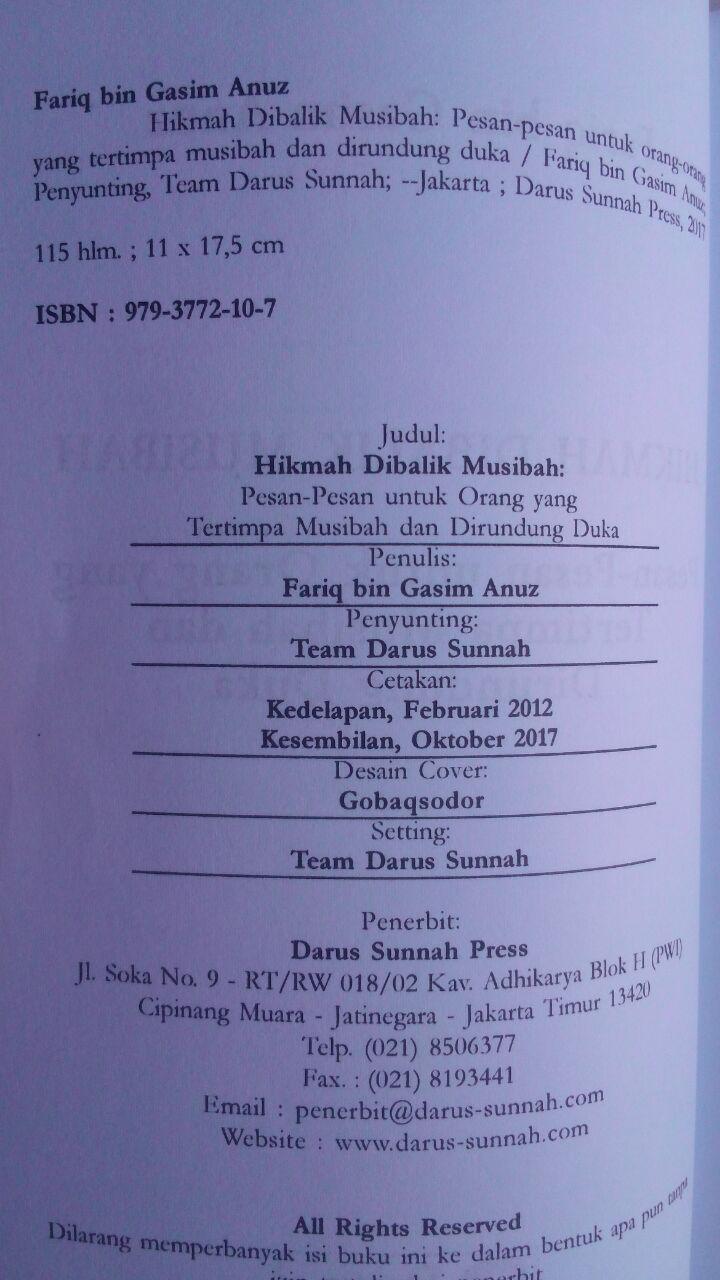 Buku Hikmah Di Balik Musibah Pesan Untuk Yang Tertimpa Musibah 15.000 15% 12.750 Darus Sunnah Fariq Gasim Anuz isi 2