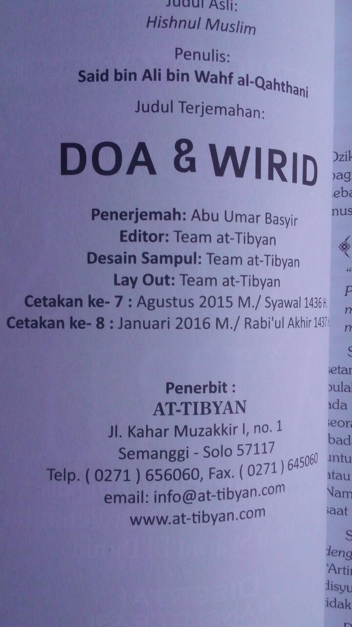 Buku Hishnul Muslim Doa Dan Wirid Disertai Transliterasi 24.000 15% 20.400 Pustaka At-Tibyan Said bin Wahf Al Qahthani isi 2