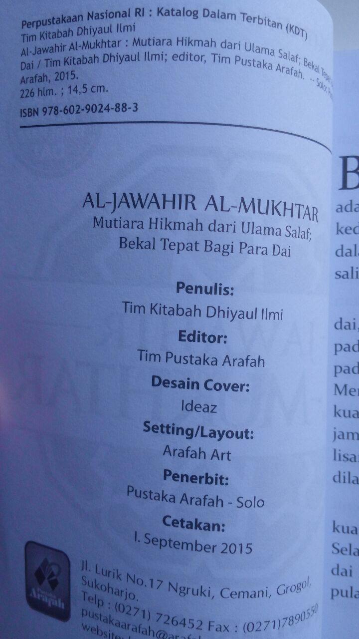 Buku Jawahir Al-Mukhtar Mutiara Hikmah Dari Ulama Salaf 20.000 15% 17.000 Pustaka Arafah Tim Kitabah Dhiyaul Ilmi isi