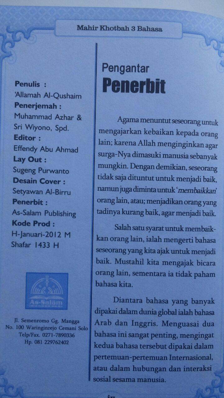 Buku Mahir Khotbah 3 Bahasa Ukuran A5 32.000 15% 27.200 As-Salam Publishing Allamah Al-Qushaim isi 2