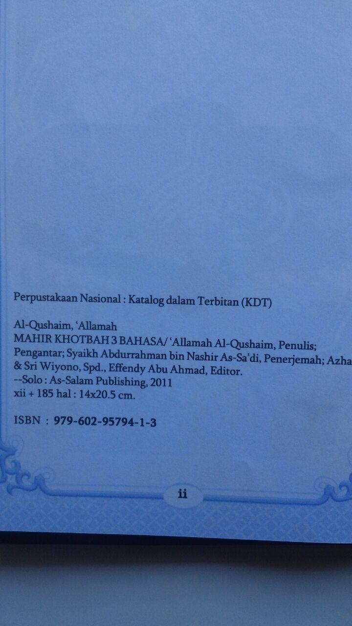 Buku Mahir Khotbah 3 Bahasa Ukuran A5 32.000 15% 27.200 As-Salam Publishing Allamah Al-Qushaim isi 3
