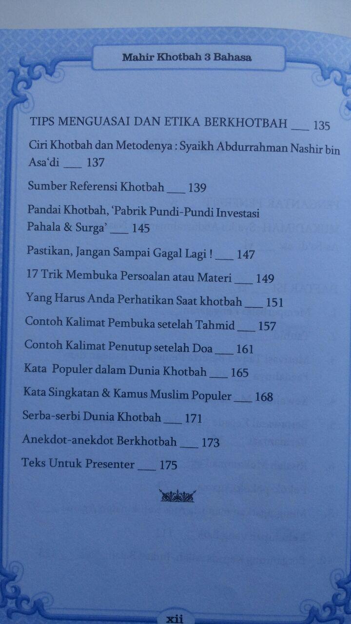 Buku Mahir Khotbah 3 Bahasa Ukuran A5 32.000 15% 27.200 As-Salam Publishing Allamah Al-Qushaim isi