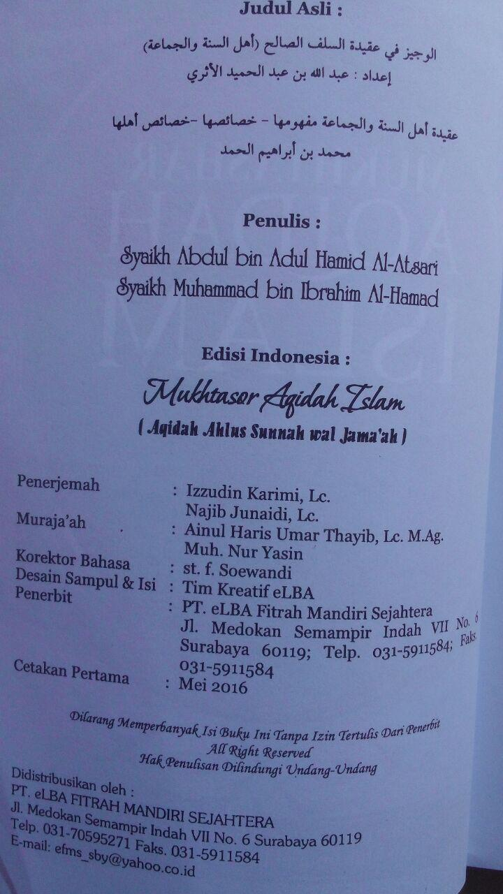 Buku Mukhtashar Aqidah Islam Aqidah Ahlus Sunnah 89.000 20% 71.200 Pustaka Elba Abdullah bin Abdul Hamid, Muhammad bin Ibrahim Al-Hamd isi