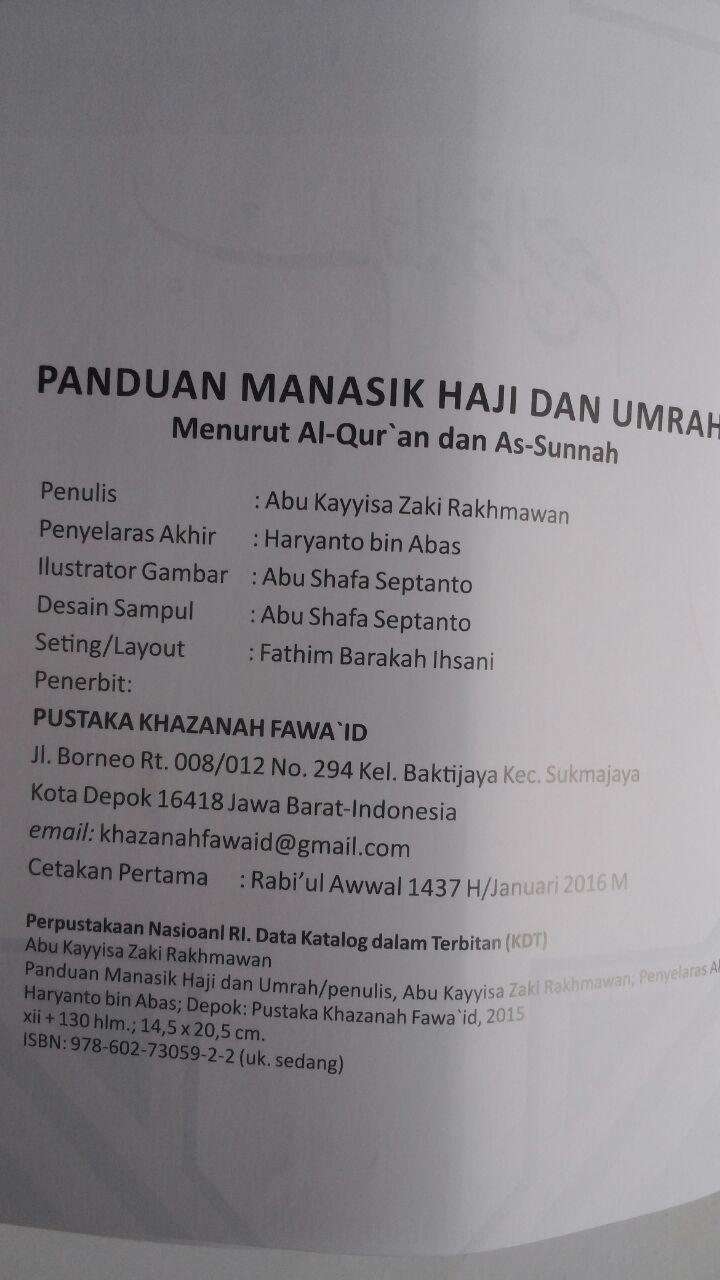 Buku Panduan Manasik Haji Dan Umrah Shahih Praktis Lengkap 50.000 20% 40.000 Khazanah Fawaid Abu Kayyisa Rakhmawan isi