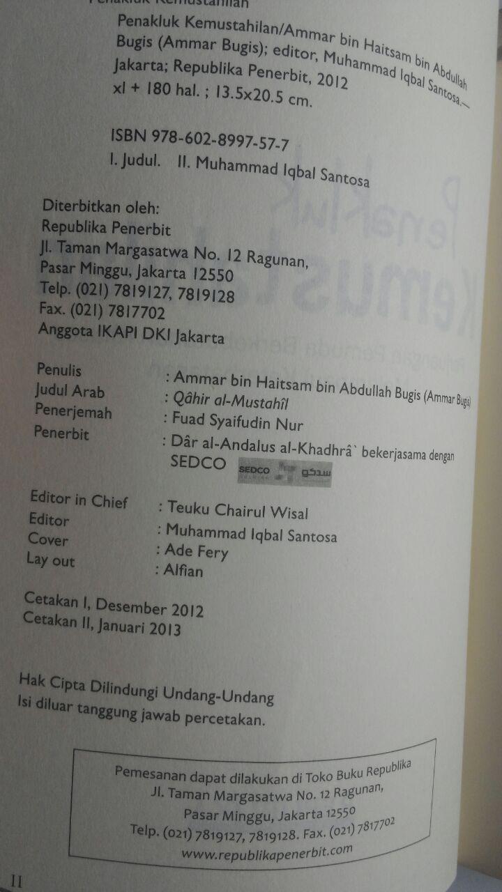 Buku Penakluk Kemustahilan Perjuangan Pemuda Khusus 45.000 15% 38.250 Republika Ammar Bugis isi