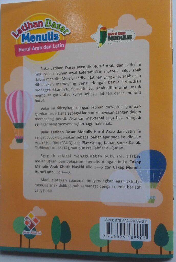 Buku Pra TK Dan TK Latihan Dasar Menulis Huruf Arab Dan Latin 10.500 10% 9.450 Pena Hikmah Ummu Irbadh Salma Hadi cover