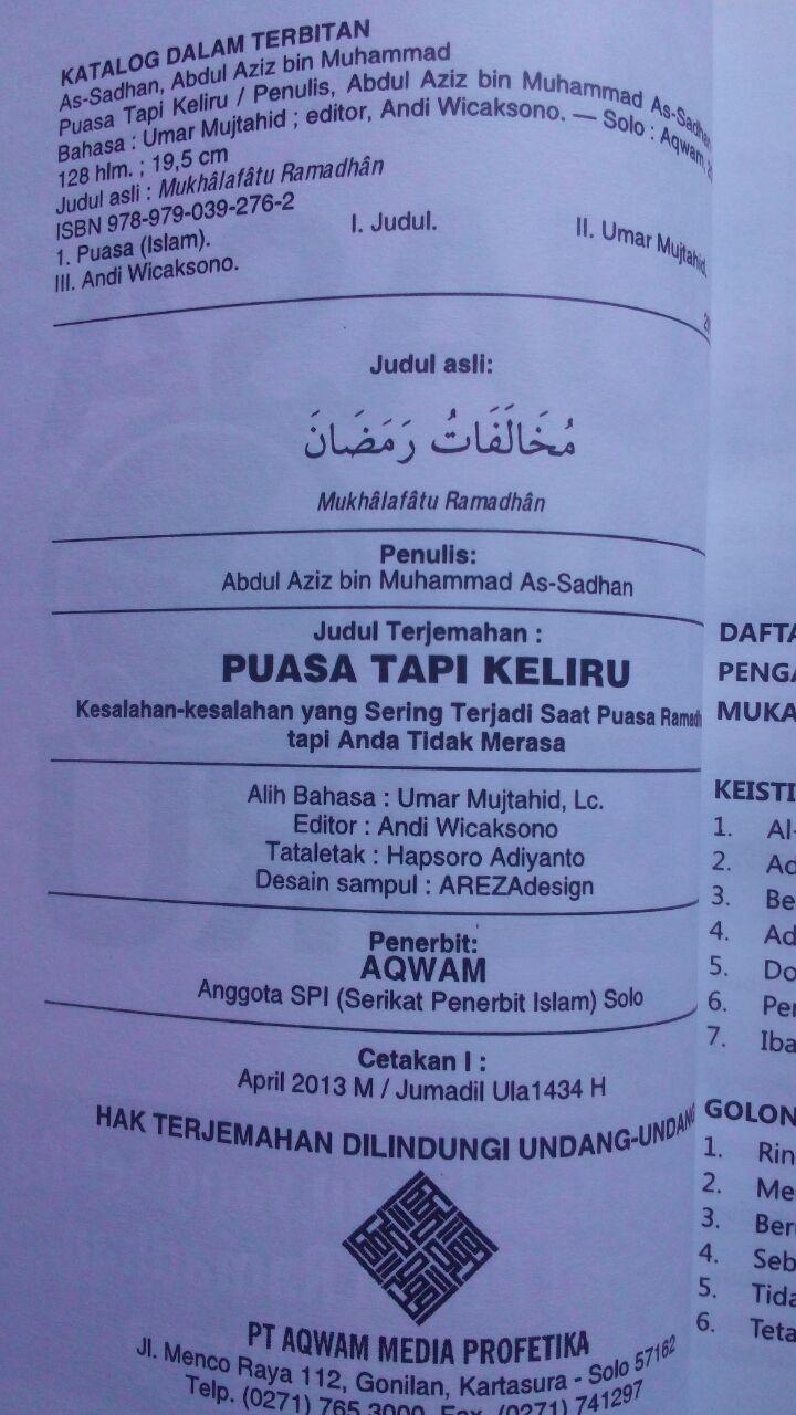 Buku Puasa Tapi Keliru Kesalahan Yang Sering Terjadi 25.000 15% 21.250 Aqwam Abdul Aziz As-Sadhan isi