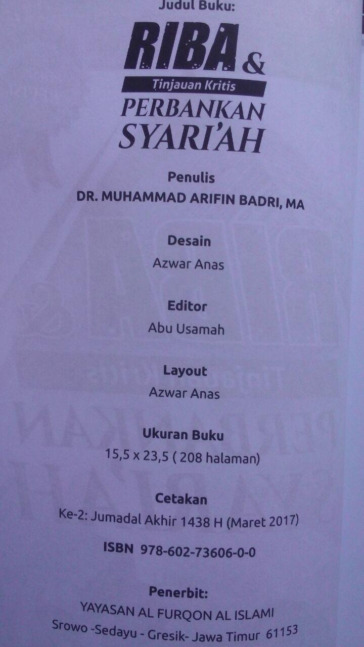 Buku Riba & Tinjauan Kritis Perbankan Syariah 50.000 20% 40.000 Pustaka Al-Furqon Muhammad Arifin Badri isi